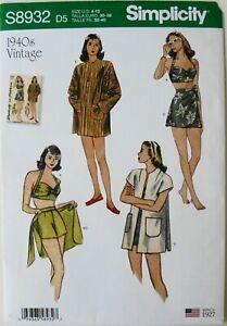 Simplicity 8932 Misses Bikini Top Shorts Wrap Skirt Coat Sewing Pattern Sz 4-12