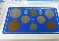UK 1962 QUEEN ELIZABETH II 8 COIN SET IN CLEAR CASE ROYAL MINT BOOK OPTIONAL