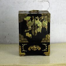 Vintage Wooden Ornate Treasure Chest Trinket Jewelry Box Cabinet Inlay Brass