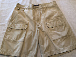 Eddie Bauer Canvas Heavy Cargo Shorts Loose Fit Outfitter Men's 36 Tan