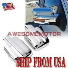 US Pair Chrome Rear View Mirror Cover Light Cutout For 2009-2014 Ford F150 AM