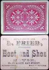 c1877 Baltimore U.S. Secondary Use Advertising Merchant Playing Cards Single