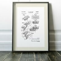 LEGO PATENT Blueprint Digitally Restored 3 Print Options or Framed Poster