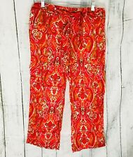 "Tommy Hilfiger Cropped Capris 10 Cotton Orange Paisley 25"" Inseam NWT cruise"