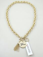 Guess Crystal Heart Multi Chain Tassel Pendant Gold Tone Statement Necklace NWT