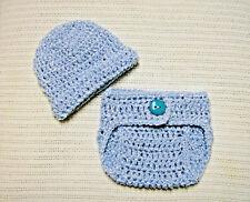 Newborn Baby Hat, Cap, Beanie/Diaper Cover Set--Blue--Hand Crochet