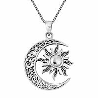 Celtic Crescent Moon and Sun Eclipse Xmas 925 Sterling Silver Necklace For Gift