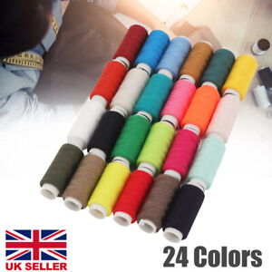 24Colours 180M Sewing Thread Reel Polyester Machine Hand Quilting Finest Quality