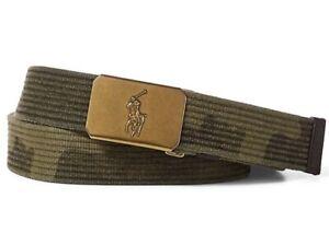 NWT POLO RALPH LAUREN Army Green Camo Adjustable Gold Tone Pony Plaque Belt M