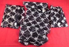Vintage Unused Black Organdy White Embroidered Dress Trim Fabric Lot 4 Piece