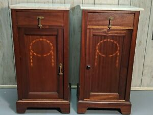 Antique 19 C.  PAIR  Walnut Marble Top Pot Cupboards Bedside Commode Night Stand