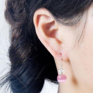 Opal Apple Earrings Feminine Silver Plated Earrings Jewelry Gift R