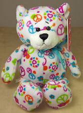 "Colorful Plush GANZ PEACE BEAR Soft Huggable 9.5"" Toy H11515 Peace Symbols"