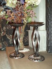Pair of hand made wrought iron distressed silver candle holders candle sticks