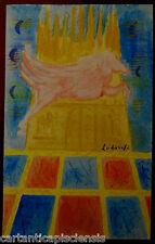 dipinto acquerello bozzetto MAIL ART 1970 FELICE LUDOVISI