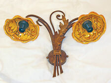 APPLIQUE WALL LIGHT LAMP ART.236  IRON BEATEN CERAMICS MADE IN ITALY COUNTRY