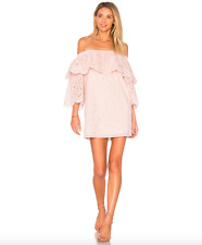 NEW Parker Cathy Dress Blush Eyelet Off the Shoulder Sleeve Size S Cotton $298