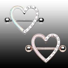 Silver Sexy Beautiful Cute Love Clear Cz Rose Gold Opal Heart Nipple Shield Ring