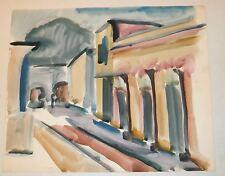 Street in Southwestern Mountain Town W/C Painting-Israel Louis Winarsky