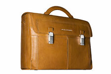 Piquadro Tan Up2Date organized briefcase, 2 front pckt, PC Sleeve CA1044UP/CU
