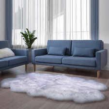 Genuine Double Sheepskin Rug - Extra Thick & Soft Sheepskin White with Grey Tips