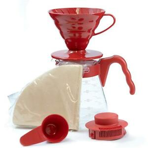 Hario V60 Size 02 Pour Over Starter Set with Dripper, Glass Server, Scoop and