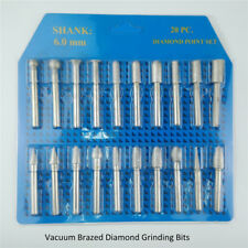 20pcs/set #46 Vacuum Brazed Diamond Mounted Points Grinding Engraving Bits Heads