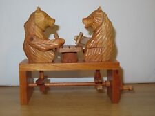 Beautiful Wooden Carved Bears Playing Chess Figures.New in Box.Arms Move up/down