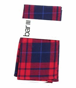 Bar III Men's Pocket Square Blue Red Clove Plaid Patterned Accessory $35 #430