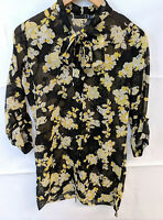 Atmosphere Sheer Shirt Dress Size 8 Black & Yellow Floral Unusual VGC Bow Neck