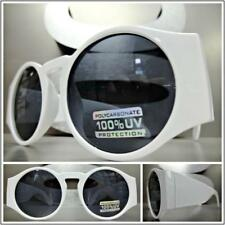 Classic Vintage Retro Style SUN GLASSES Large Thick Round White Frame Dark Lens