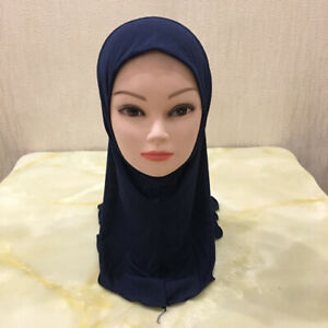 Small Girls Hijab Muslim Islamic Head Scarf Al Amira Wrap Kids Child One Piece