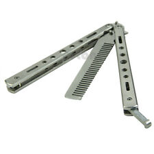 Steel Butterfly Balisong Comb Trainer Training Knife Dull Tool Pretty Silver