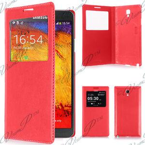Housse etui coque plastique View Case Samsung Galaxy Note 3 Neo N7505 7502 Rouge