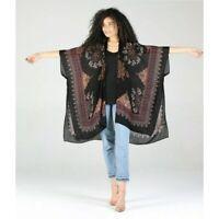 Angie Black Boho Scarf Print Kimono