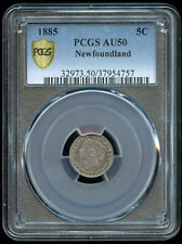1885 Newfoundland Canada Five Cents Silver Coin - PCGS AU50