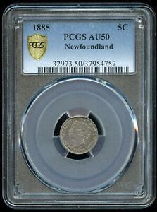 1885 Newfoundland Canada Five Cents Silver Coin - PCGS AU50