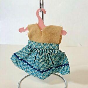Vintage 1950s Vogue GINNY Muffie Ginger Blue Cotton Print Dress w Rick Rack Trim