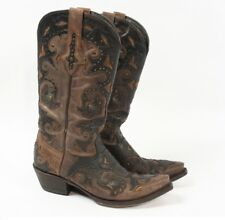 LUCCHESE Fiona Studded Café Brown Studded Western Cowgirl Cowboy Boots Women 9 B