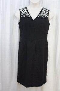 Anne Klein Dress Sz 12 Black White Studded Sleeveless Career Cocktail Sheath