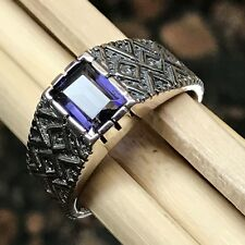 Natural 2ct Iolite { Water Sapphire } 925 Solid Sterling Silver Men's Ring 10