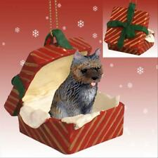 Cairn Terrier Brindle Dog Red Gift Box Holiday Christmas Ornament
