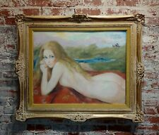 Sheldon C Schoenberg- Nude Blonde Laying on an outdoor field-Painting