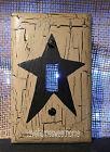 Primitive Crackle Tan   Black Star Single Light Switch Plate   Country Decor