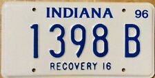 Indiana license Plate - Tow Truck - Recovery Wrecker