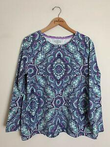 The Talbots Tee Blue Purple Paisley Print Cotton Long Sleeve Shirt Top Plus 2XP