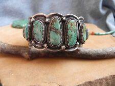 Turquoise & HEAVY Sterling Silver Cuff Bracelet by Richard Jim Navajo