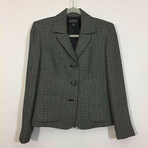 Kasper Blazer Size 4P Petite Black White Geometric Button Front Career Jacket
