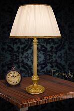 lampada da tavolo classica in ottone satinato lume con paralume seta plissé new
