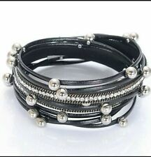 BLACK BRACELET FAUX LEATHER WRAP AROUND BRACELET BEADS SILVER